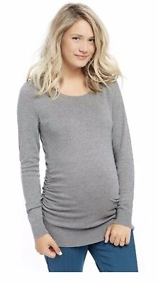 Motherhood Maternity Sweater Size L Side Ruched Gray Solid