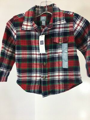 Baby Gap Toddler Boy Plaid Flannel Long Sleeve Shirt Navy/red/green 18-24M Nwt