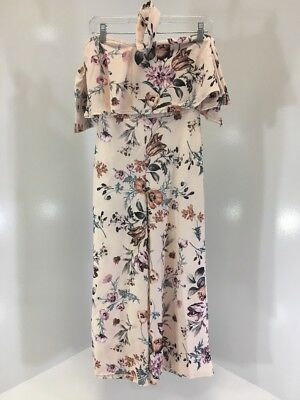 ccabf585eac4 Boohoo Women s Floral Off Shoulder Cullotte Jumpsuit Blush multi Uk8 us4 Nwt