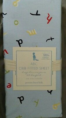 NEW Pottery Barn Kids Blue ABC Alphabet Crib SHEET toddler bed colorful Organic