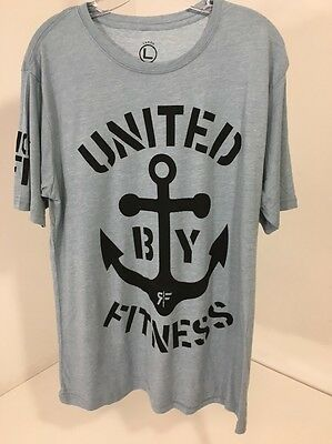 cd8d4b8dd92 Rokfit Men s United By Fitness Short Sleeve T Shirt Heather Light Blue  Large New