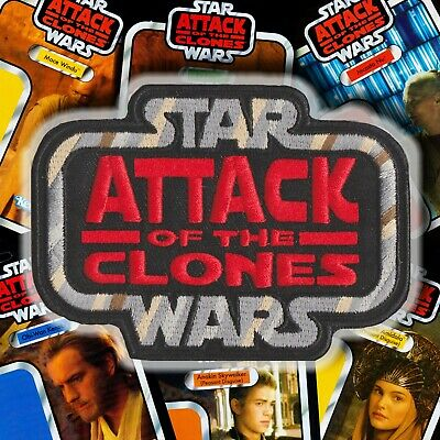 """Hasbro Kenner STAR WARS """"ATTACK of the CLONES"""" Vintage style logo patch GLOBAL"""