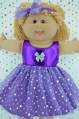 "Play n Wear Doll Clothes To Fit 16"" Cabbage Patch PURPLE SEQUIN DRESS~HEADBAND"