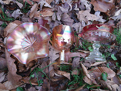 Lot of 3 Carnival Glass Fenton Compote Indiana Kings Crown Indiana Colony Goblet