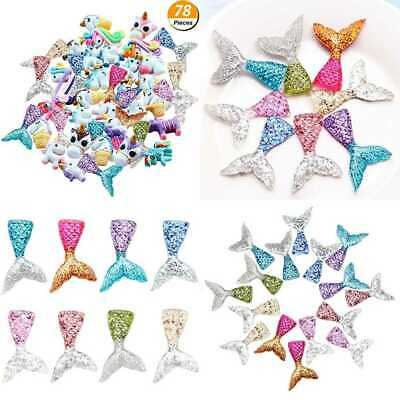 78 Pack Unicorn Mermaid Tail Slime Charms Resin Flatback Of Mixed Beads For Orna