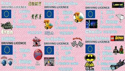 9 X Novelty Driving Licences Ideal For Fun & Kids Birthday Partys