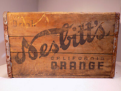 "Vintage Wood Soda Crate NESBITTS CALIFORNIA ORANGE 17"" X 11 1/4"" X 10 14"""