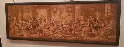 "Antique RARE Made In Belgium Tapestry W/ Victorian Scene  40"" X 54"" Wall Hanging"