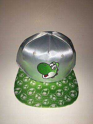 37e88c3dfeeac NEW Super Mario Brothers Yoshi Snapback Cap Hat Adult in Silver Green  Nintendo