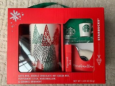 NEW STARBUCKS 2018 Holiday 5 Piece Gift Set Latte/Cocoa Mug+ Ornament+ More!