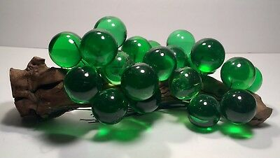 Vintage Mid-Century Lucite Acrylic Grapes On Driftwood Large Green