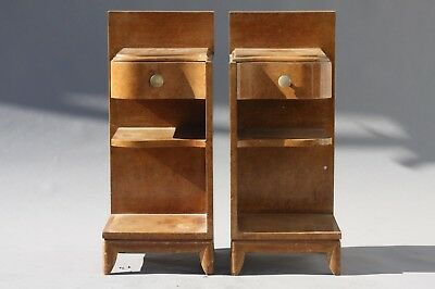 FRENCH ART DECO BURL WOOD NIGHTSTANDS  END TABLES -1930s FRANCE VINTAGE ANTIQUE