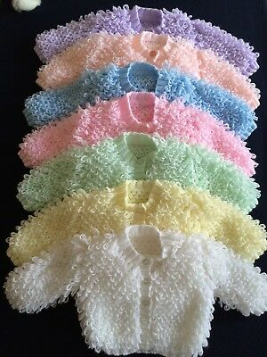 Hand knitted - Baby LOOPY Cardigan - Coat - 0-6 and 6-12 Mths - Various Colours