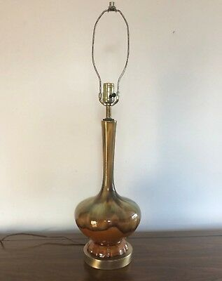 Vintage Mid Century Modern Genie Drip Glaze Table Lamp Orange Green Brown