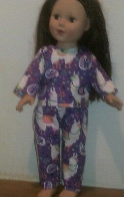 "18"" doll clothes-fits American Girl Boy  My Life-Pajamas-Flannel-Purple Llamas"