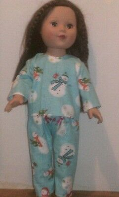 "18"" doll clothes-fit American Girl Boy  My Life-Pajamas-Flannel-Blue w.Snowmen"