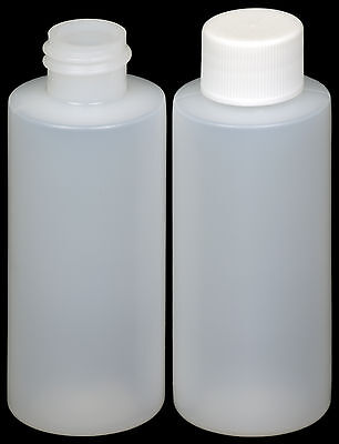 Plastic Bottle (HDPE) w/White Lid, 2-oz. 25-Pack, New