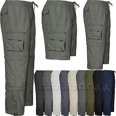 Mens Elasticated Waist 3 in 1 Zip Off Trousers Cargo Work Pants Bottoms M-4XL