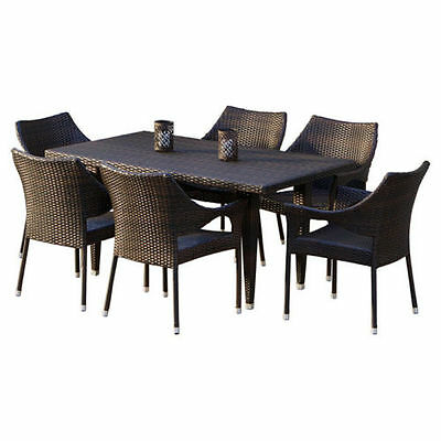 Outdoor Patio Dining Set 7 Piece Wicker Table Iron Legs Lawn Chairs Furniture