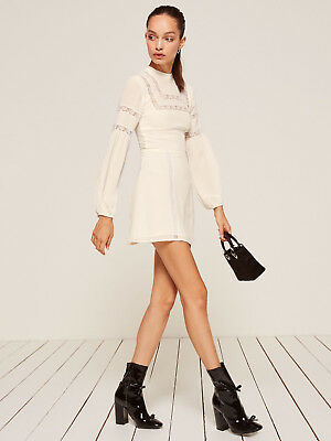 NWT New Authentic REFORMATION Sachi Dress Petite 2P XS White Lace Sleeves  Mini 33d2e5b9d