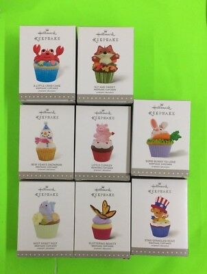 LOT of 8 Cupcake Ornaments (#1,2,6,7,9,10,11,& 12) from Hallmark Cupcake Series