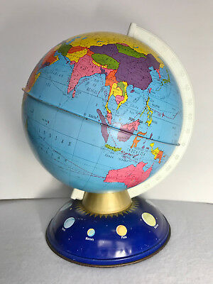 Vintage Ohio Art Tin Metal 'The Blue Planet' World Globe Time Zones Homeschool