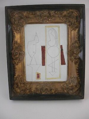 Rare After Picasso Oil Painting Modern Cubism Gold Framed Study for L'atelier