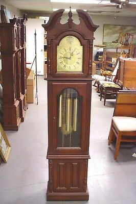 Franz Hermle Piper Cherry Grandfather Clock , Newly serviced runs well