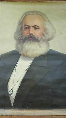 Karl Marx Large Original Antique Oil Painting on Canvas