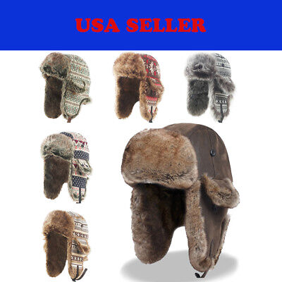 Winter Earflap Leather Fur Russian Ushanka Cossack Trapper Aviator Bomber Hat
