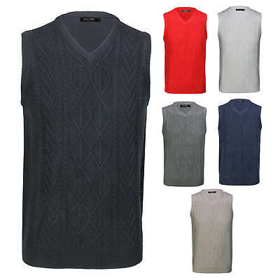 Mens Classic Sleeveless Jumper V Neck Cable Knitted Smart Casual Pullover Vest