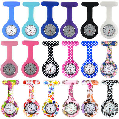 Colorful Patterned Silicone Nurse Watch Brooch Tunic Fob Battery Doctor Watches