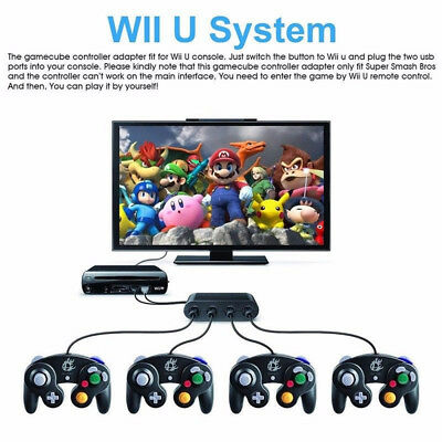4 Port Gamecube NGC Controller Adapter For Nintendo Wii U & Switch & PC USB SW