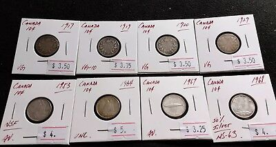 Canada 1917-68 10 cent Silver Lot of 8 pcs Very Nice High Grade Dime Coin (#F19)