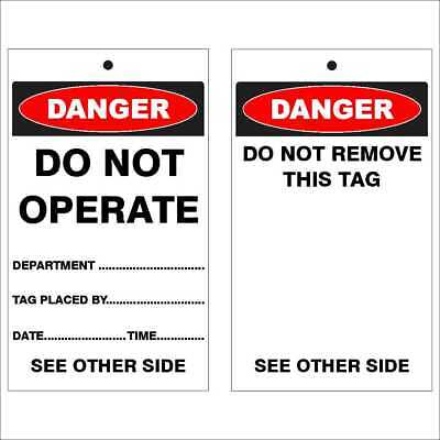 Lockout Tags -  DANGER - DO NOT OPERATE