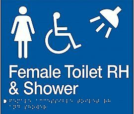 Female Accessible Toilet Right Hand & Shower Sign FDTSRH-BLUE