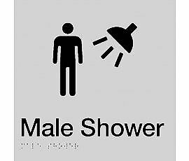 Braille Signs -  Male Shower Sign MS-SILVER