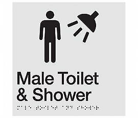 Braille Signs -  Male Toilet & Shower Sign MTS-SILVER