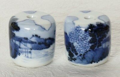 Japanese Vintage Hanging Scroll Weight Blue & White Ceramic Fuchin Landscape