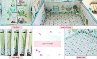 Set of 4pcs Cotton Baby Crib Cot Bedding Quilt Bumper Sheet Dust Ruffle Owl New