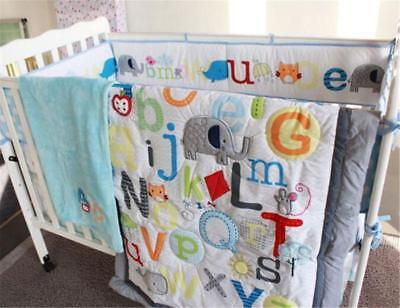 5pcs Letters & Animals Baby Crib Cot Bedding Set Quilt Bumper Sheet Dust Ruffle