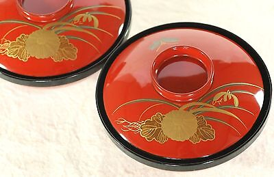 Japanese Vtg 2 Soup Bowl Lacquer Ware Wood Chrysanthemum Cymbidium Butterfly