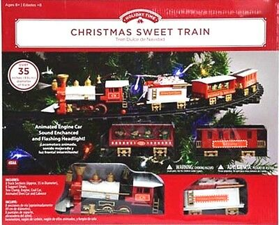 Animated Christmas Tree Lights and Sound Train Set Mounts in Tree New
