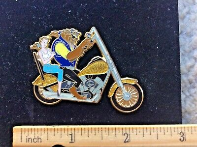 Disney Pin 55838, Beauty & Beast Belle Riding Harley type motorcycle, LE 250