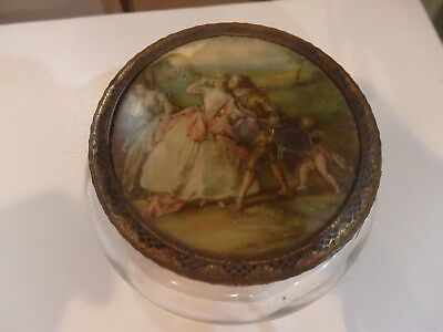 Vintage dressing table powder pot with Victoriana scene