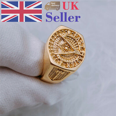 18K Gold Plated Antique Vintage Style Men's Engraved Cool Design Ring Size 7-11