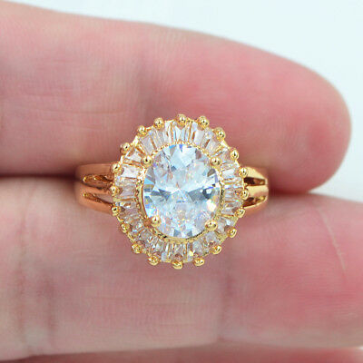 18K Yellow Gold Filled White Topaz Zircon Solitaire Engagement Promise Ring