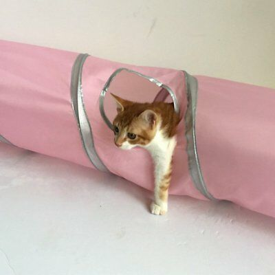 Pet Cat Kitten Tunnel S Shape Hole Crinkle Collapsible Play Toy Outdoor Indo LCU