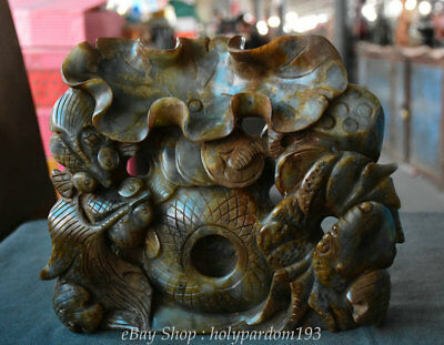 """11"""" Chinese Old Ancient Jade Jadeite Carved Wealth Coin lotus leaf Fish Statue"""