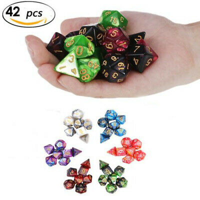 42pcs Polyhedral Dice for Dungeons and Dragons DND RPG D20 D12 D10 D8 D6 D4 Game